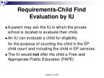 requirements child find evaluation by iu