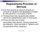 requirements provision of services