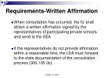 requirements written affirmation