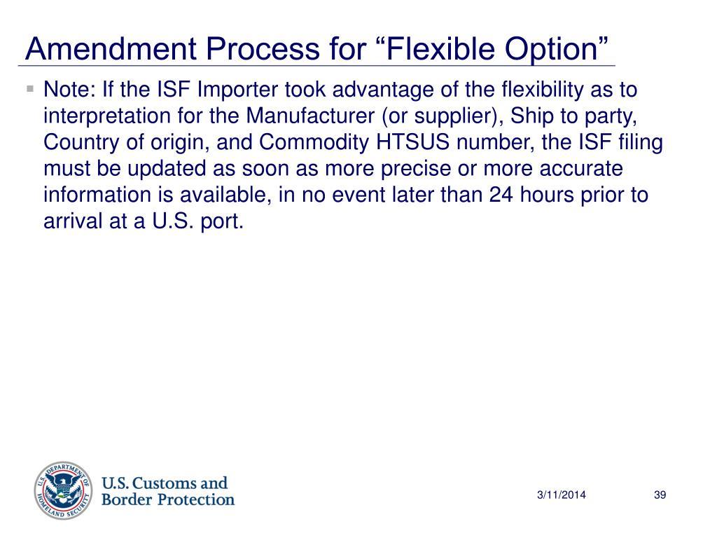 "Amendment Process for ""Flexible Option"""