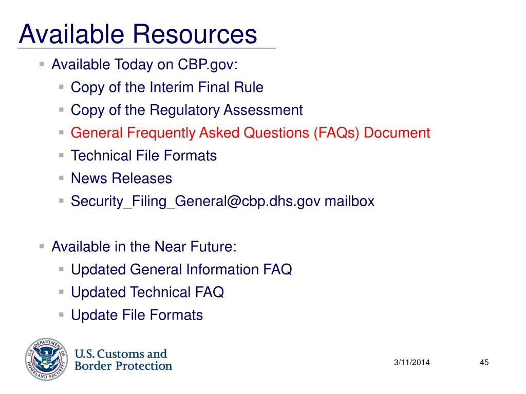 Available Today on CBP.gov:
