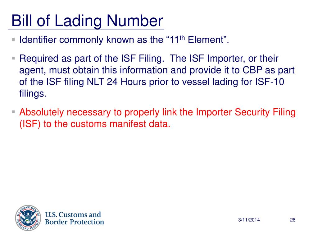 Bill of Lading Number