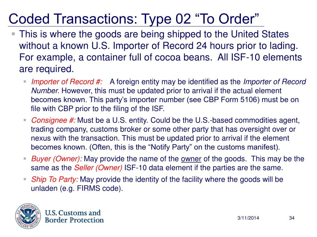 """Coded Transactions: Type 02 """"To Order"""""""