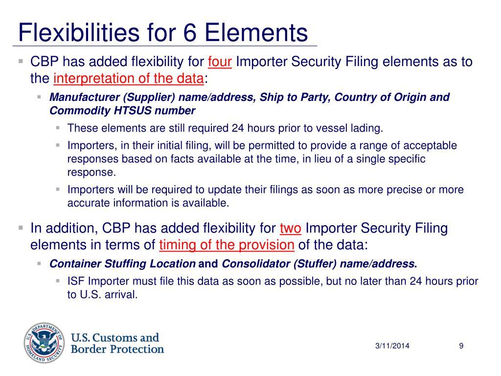 Flexibilities for 6 Elements