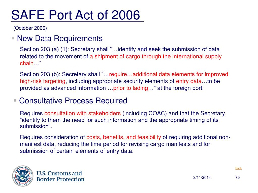 """Section 203 (a) (1): Secretary shall """"…identify and seek the submission of data related to the movement of"""