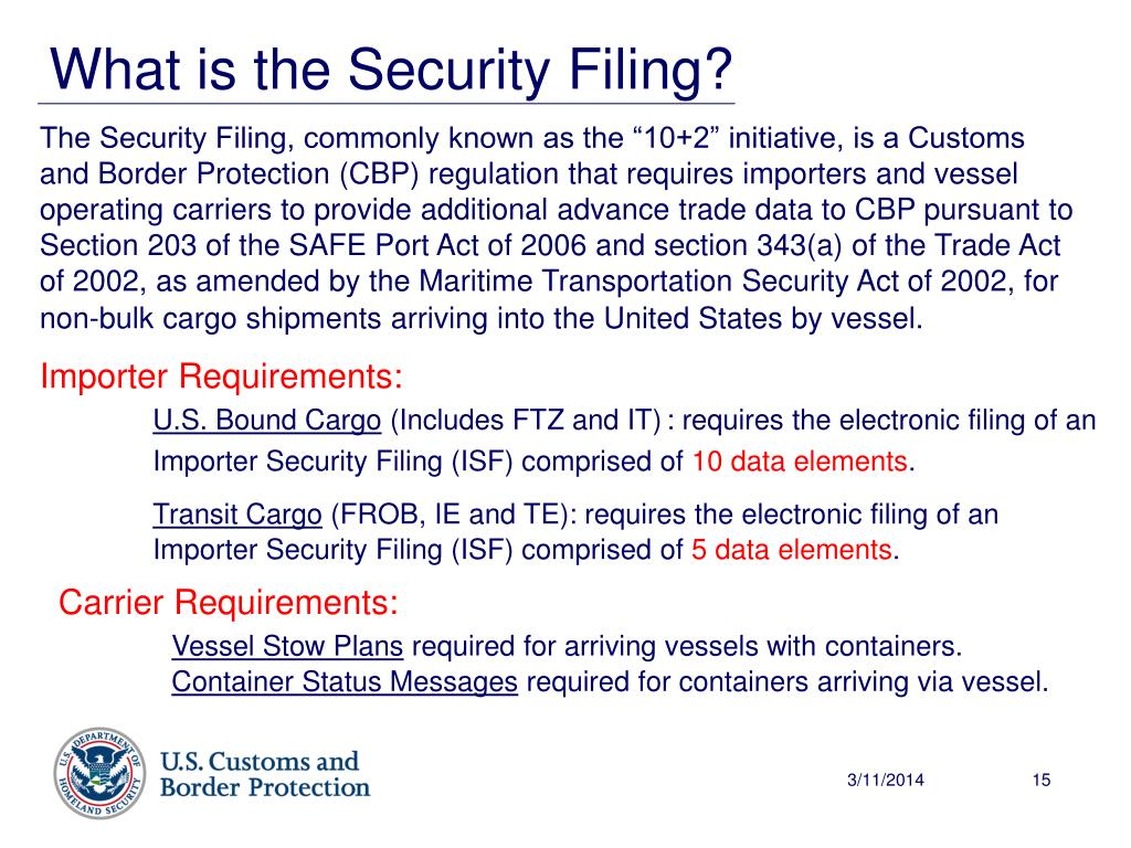 What is the Security Filing?