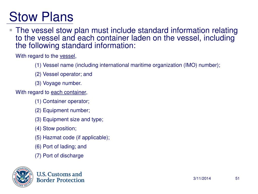 The vessel stow plan must include standard information relating to the vessel and each container laden on the vessel, including the following standard information: