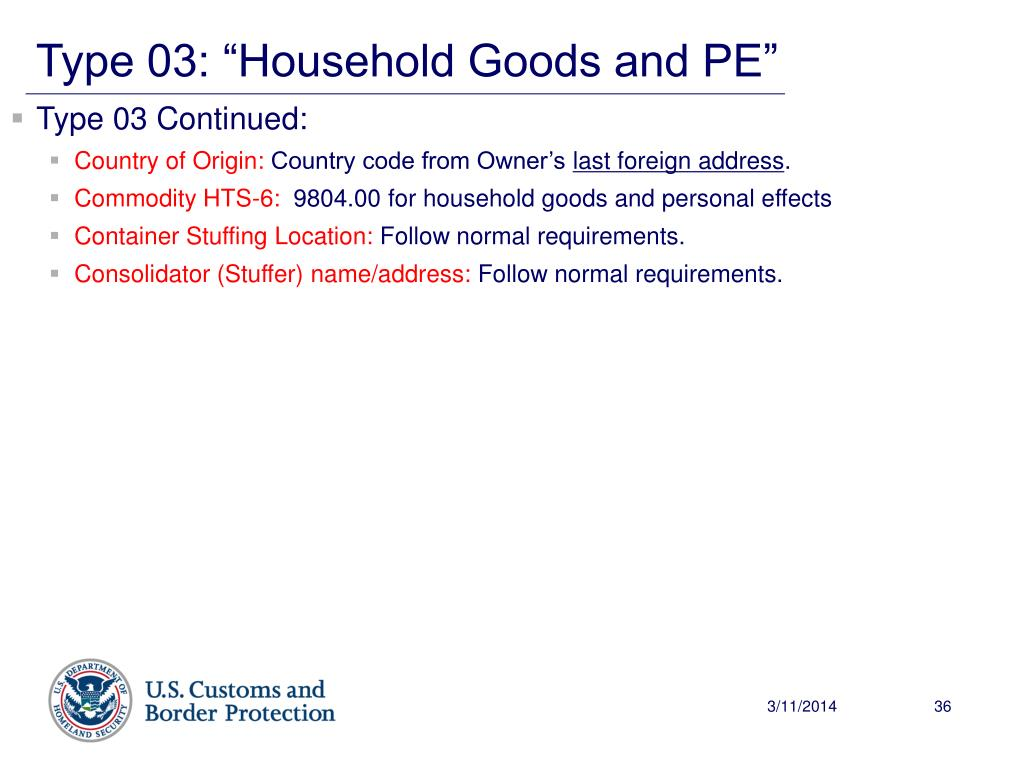 """Type 03: """"Household Goods and PE"""""""
