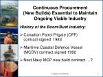 continuous procurement new builds essential to maintain ongoing viable industry