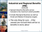 industrial and regional benefits irb continued