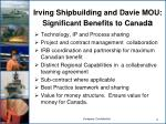 irving shipbuilding and davie mou significant benefits to canad a