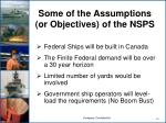 some of the assumptions or objectives of the nsps