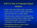 sat i is fair to underprivileged students
