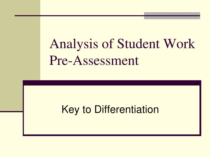 analysis of student work pre assessment n.