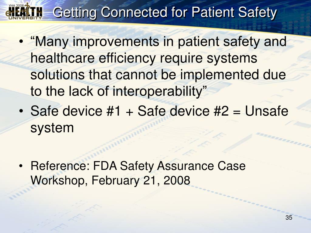 Getting Connected for Patient Safety