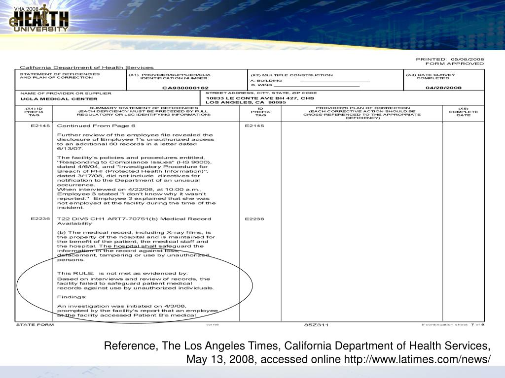 Reference, The Los Angeles Times, California Department of Health Services,