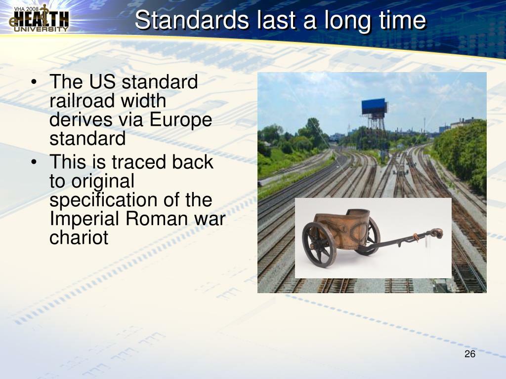 The US standard railroad width derives via Europe standard