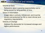 volume value and velocity