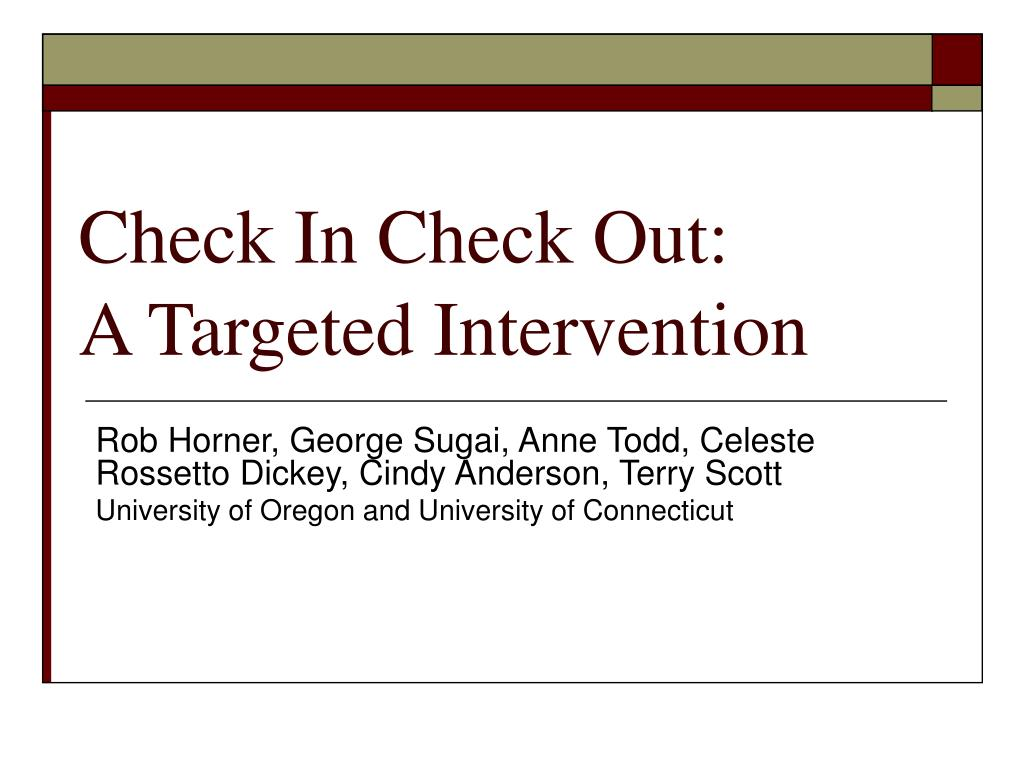 check in check out a targeted intervention l.