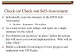 check in check out self assessment