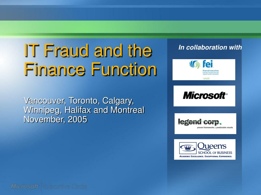 it fraud and the finance function l.