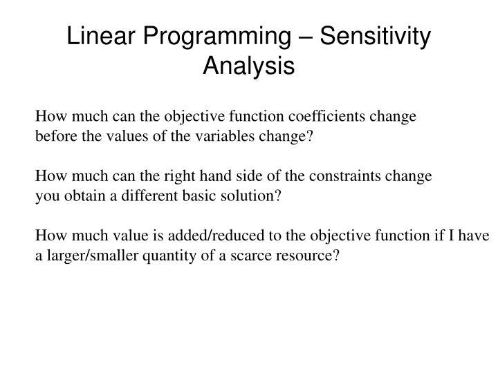 Linear programming sensitivity analysis