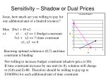 sensitivity shadow or dual prices