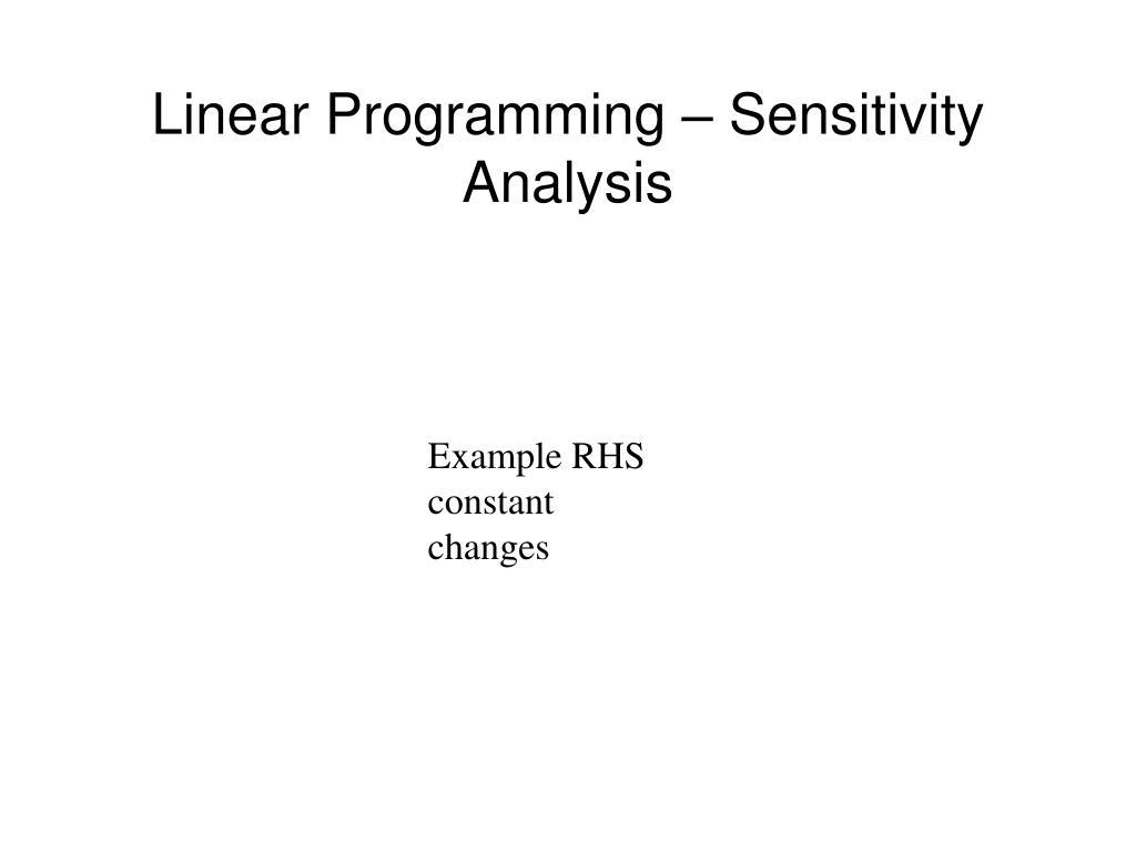 Linear Programming – Sensitivity Analysis