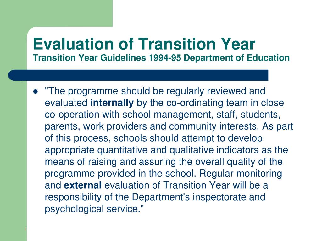 Evaluation of Transition Year