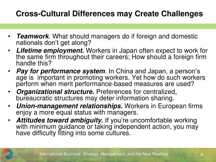 cross cultural challenges when doing business in Cross-cultural communications can be a challenge  it's no secret that today's  workplace is rapidly becoming vast, as the business environment expands to  include various geographic  in doing this, a little education will usually do the  trick.