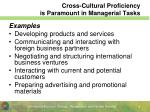 cross cultural proficiency is paramount in managerial tasks