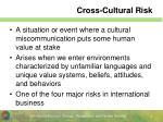 cross cultural risk
