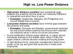 high vs low power distance