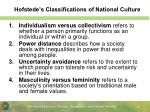 hofstede s classifications of national culture