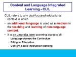 content and language integrated learning clil