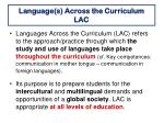 language s across the curriculum lac