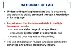 rationale of lac