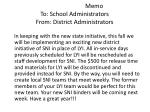 memo to school administrators from district administrators