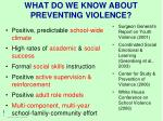 what do we know about preventing violence