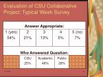 evaluation of csu collaborative project typical week survey34