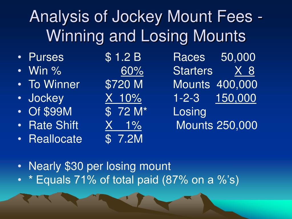 Analysis of Jockey Mount Fees -Winning and Losing Mounts