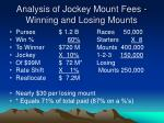 analysis of jockey mount fees winning and losing mounts