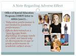 a note regarding adverse effect