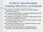 synthetic speechreading training objectives an example