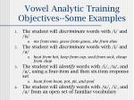 vowel analytic training objectives some examples
