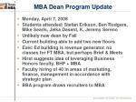 mba dean program update