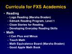 curricula for fxs academics