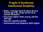 fragile x syndrome intellectual disability