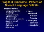 fragile x syndrome pattern of speech language deficits