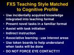 fxs teaching style matched to cognitive profile